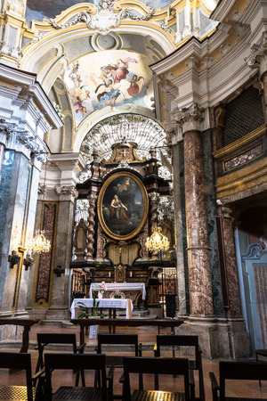 pilasters: Alba, Italy, Europe - May 3, 2016: The altar of St. Mary Magdalene Church in Alba