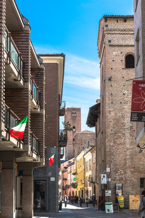 risorgimento: View of Sineo Tower from Cavour street in old city of Alba, Italy Editorial