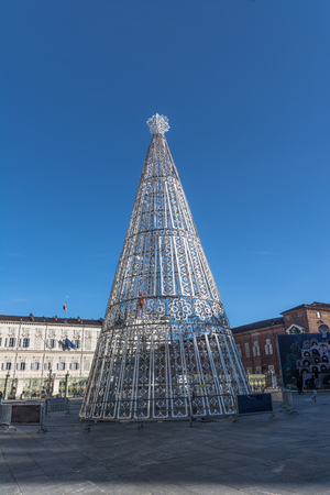 Christmas Tree in Turin, Italy Editorial