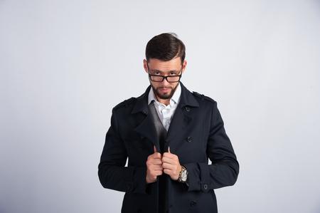 unshaven: Unshaven man with glasses.