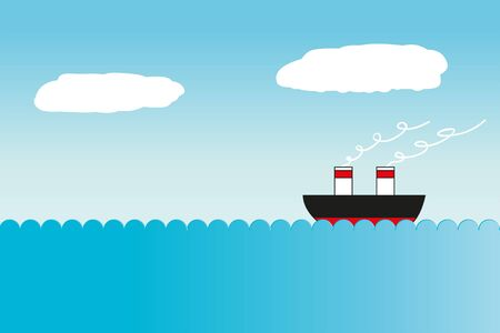 illustration of a ship at sea Vector