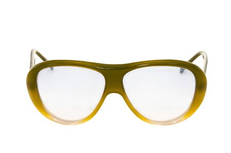 vision repair: old retro glasses isolated on white background
