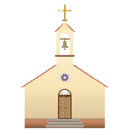 chiesa con una croce e campana, illustrazione vettoriale Vettoriali