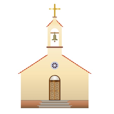 the catholic church: church with a cross and bell, vector illustration Illustration