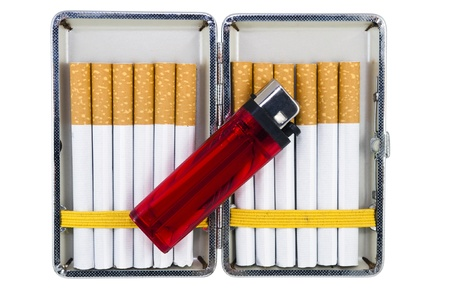 cigarette case with cigarettes and a lighter isolated on white background photo