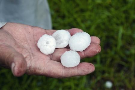 Hielo en la mano después de una gran tormenta con granizo Foto de archivo - 20351024