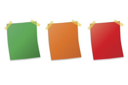 three post it notes on white background vector illustration Vector