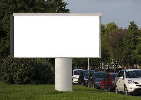 blank billboard: Blank Billboard with parked cars