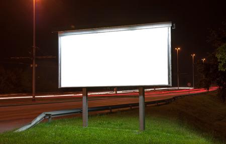 blank billboard: Billboard on highway by night in Zagreb