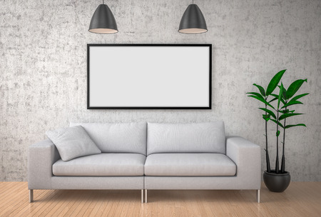 Mock up poster, big sofa, concrete wall background, 3d illustration Stock Photo