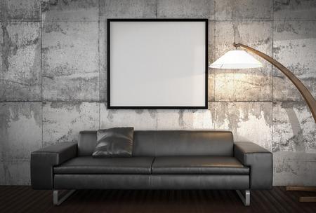 modern interior: Mock up poster, 3d illustration Stock Photo