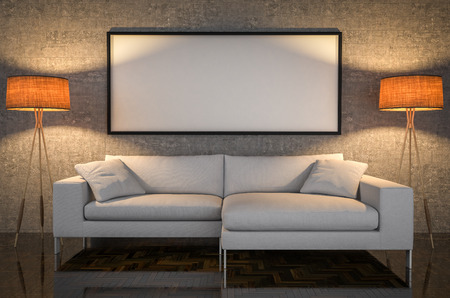 art painting: Mock up poster, leather sofa, concrete wall background, 3d illustration Stock Photo