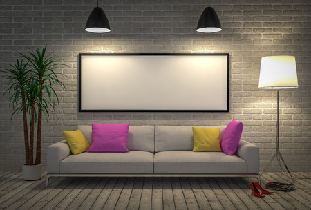 sofa: Mock up blank poster on the wall with lamp and sofa, 3D illustration background.