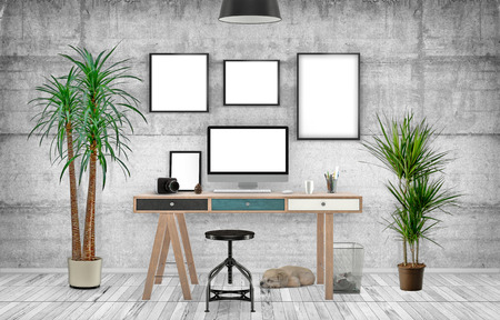 wacom: Desktop Mockup, 3D illustration just place your creative photo or design on this blank surfaces