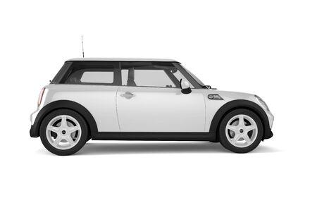 Mini sport auto op een witte achtergrond met zachte schaduwen. plaats uw ontwerp op deze lege oppervlak.