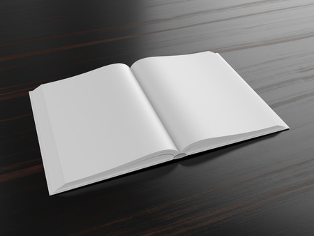 open book: Blank open book on dark background with soft shadows, mock up Stock Photo