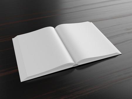 libros: Libro abierto en blanco sobre fondo oscuro con sombras suaves, maqueta