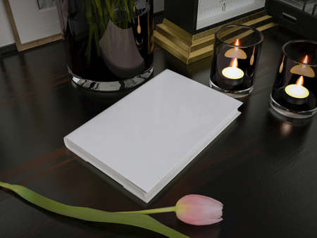 mock up: Blank book on dark background with soft shadows, mock up
