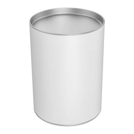 tin packaging: Tin Can for Packaging Candy with metal Cap on white background - mock up Stock Photo