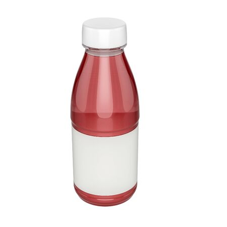 naturalistic: Naturalistic plastic, glass bottle of juice, jam, milk, sugar water, tea. Mock up packing with design label or badges.