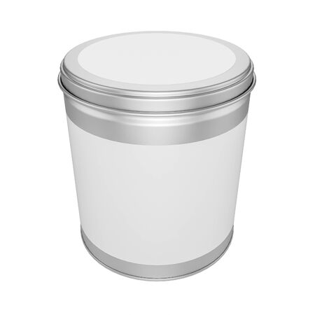 tin can: Tin Can for Packaging Candy with metal Cap on white background - mock up Stock Photo