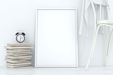 mockup: Blank frames against the wall. White interior with decor plant