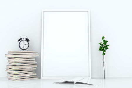 model: Blank frames against the wall. White interior with decor plant