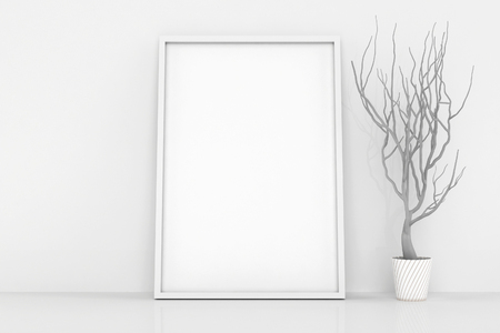 layout template: Blank frames against the wall. White interior with decor plant