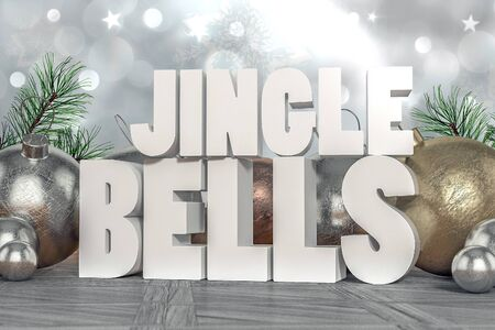 jingle: Jingle Bells 3D text with decorative elements in background