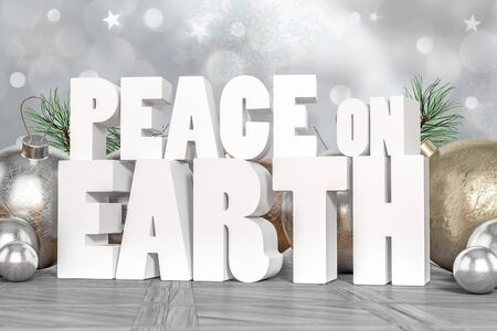 peace: Peace on Earth 3D text with decorative elements in background