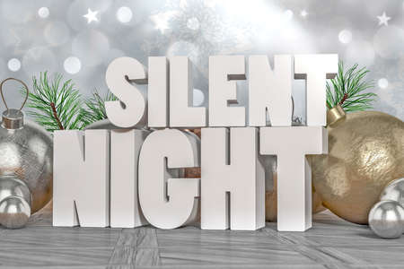 silent: Silent Night 3D text with decorative elements in background