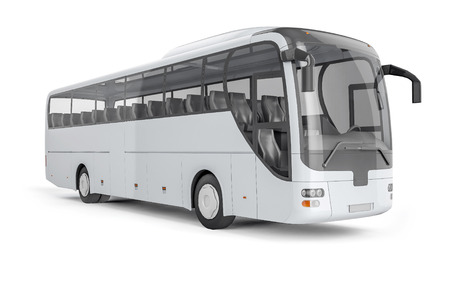 mockup: City bus with blank surface for your creative design.
