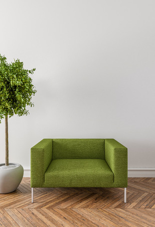 floor plant: Put your creation on this empty area. Parquet on the floor, armchair and interior plant.