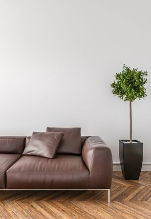 floor plant: Put your creation on this empty area. Parquet on the floor, sofa and interior plant. Stock Photo