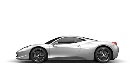 Super sport car on white background, 3D illustration Stock Photo