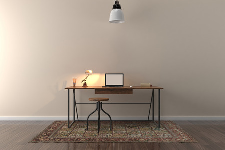 Study Desk: Work desk in empty room with big wall in background. 3D illustration Stock Photo
