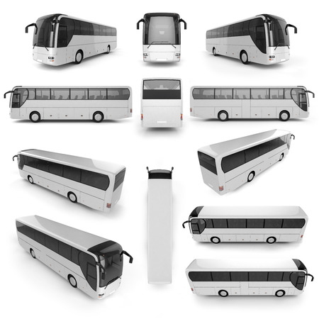 rear view: 12 perspective view of City bus with blank surface for your creative design. 3D illustration. Stock Photo