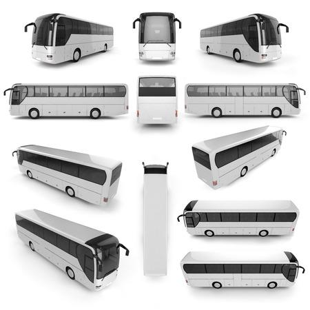 12 Vista en perspectiva del autobús de la ciudad con la superficie en blanco para su diseño creativo. Ilustración 3D.