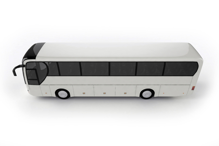 motor coach: Top View - Bus Mock Up on White Background, 3D Illustration Stock Photo