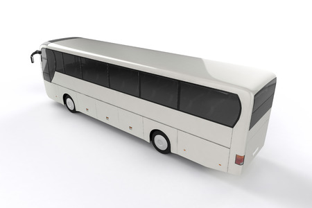 motor coach: Bus Mock Up on White Background, 3D Illustration