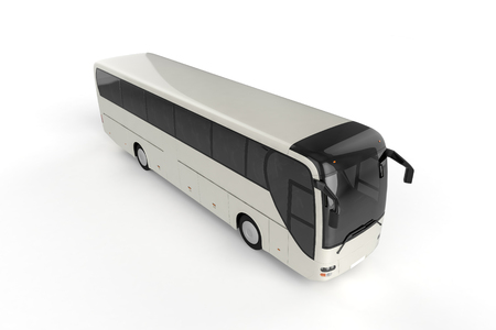 motor coach: Top View on Bus Mock up on White Background, 3D illustration