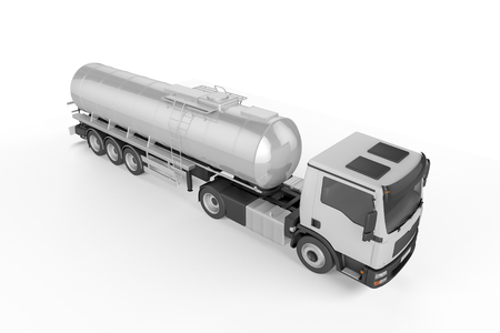 Big Tanker Truck isolated on white background. Mock up - 3D illustration Stock Photo