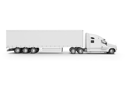truck trailer: Big Truck Trailer - on white background with soft shadows. Mock up - 3D illustration,