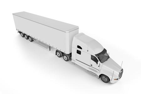 big truck: Big Truck Trailer - on white background with soft shadows. Mock up - 3D illustration,
