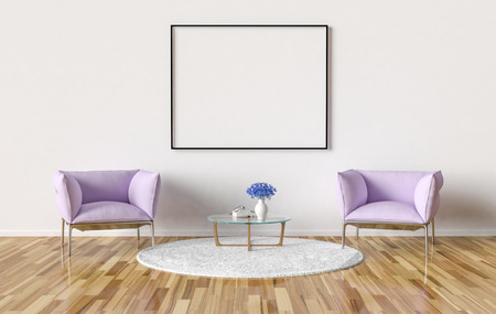Waiting room with blank picture frame on the wall. 3D Illustration