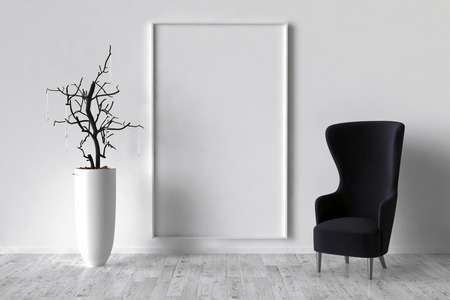 background picture: Solo chair and blank picture frame background, 3d render