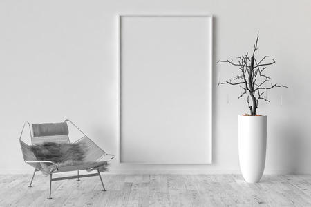 solo: Solo chair and blank picture frame background, 3d render