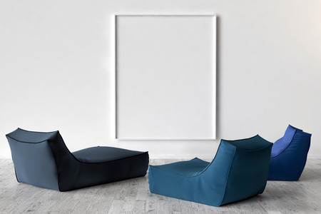 solo: Solo chairs and blank picture frame background, 3d render