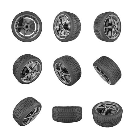 Tires in perspective on white background - 3D render Stock Photo