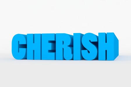 cherish: Grande testo 3D su sfondo bianco con morbida ombra. Custodire in colore blu su bianco Archivio Fotografico